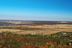 Spadek antena Eau Claire Wisconsin i Chippewa rzeka Fotografia Stock
