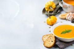 Spadek jesień piec pomarańczową dyniową marchwianą polewkę z czosnkiem fotografia stock