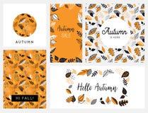 Spadek, jesień sezonu wektorowa ilustracja, zaproszenie, sztandar, tło set Wektorowi szablony royalty ilustracja
