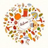 Spadek jesieni doodle ikon wektoru round rama Obrazy Stock