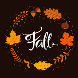 Spadek jesieni liści gałąź wianek Obraz Royalty Free