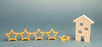 Spadek kwinty gwiazda blisko miniaturowego drewnianego domu Pojęcie spada ratingowa restauracja lub hotel Marnienie w usłudze obrazy royalty free