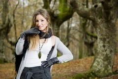 spadek lasu dziewczyna Zdjęcie Royalty Free