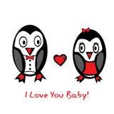 Spadek w miłość pingwinach Obraz Stock