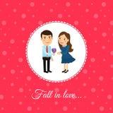 Spadek w miłości parze ilustracji
