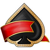 Spades. card suit icons with ribbon Royalty Free Stock Photos