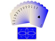 Spades cards fan with deck isolated on white Royalty Free Stock Images