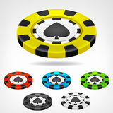 Spades poker chip isometric set 3D object  Royalty Free Stock Image
