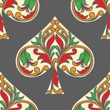 Spades poker pattern. Ai and Eps 8 file Royalty Free Stock Image