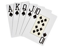 Spades royal flush. Isolated over white background Stock Photography