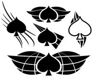 Spades tattoo set isolated Royalty Free Stock Photography