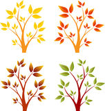 Spadków drzewa, jesieni drzewa, Drzewni wektory Obraz Stock