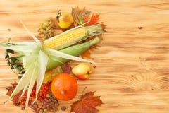 Spadków foods, żniwo na drewnianym stole Tło Zdjęcie Stock