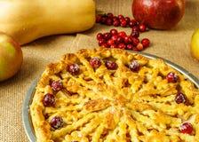 Spadku jabłczanego kulebiaka wciąż tradycyjny życie z banią, cranberry i jabłkami, fotografia royalty free
