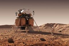 Spadku moduł Międzyplanetarna stacja kosmiczna I astronauta Na powierzchni planeta Mars royalty ilustracja