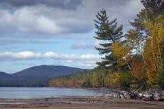 Spadku ulistnienie na brzeg Flagstenga jezioro w północno-zachodni Maine Fotografia Stock