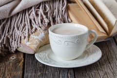 Spadku wieczór z ciepłą szkockiej kraty książkową i gorącą herbatą z mlekiem Obrazy Stock