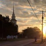 Spadku wschód słońca iluminuje żniwo nagrodę zdjęcie royalty free