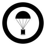 Spadochron z ładunek ikony czerni kolorem w okręgu Fotografia Royalty Free