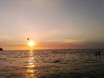 spadochroniarz unosi się nad oceanem w wieczór Zdjęcie Royalty Free