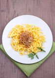 Spaetzle with fried onion Stock Photos