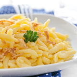 Spaetzle with fried onions Royalty Free Stock Photos