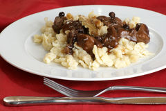 spaetzle and organic deer goulash Royalty Free Stock Photography
