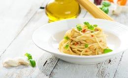 Spageti橄榄油和peperoncino 图库摄影