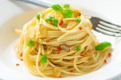 Spageti橄榄油和peperoncino 免版税库存照片