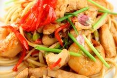 Spagetti avec des crevettes Image stock