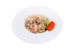 Spagetti with bacon and mushrooms Stock Photo