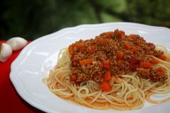 Freshly made spaghetti Bolognese. stock images