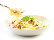 Spagetti carbonara. A plate of delicious spaghetti carbonara sauce covered with creating a delicious composition Stock Images