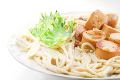 Spagetti carbonara saussage Royalty Free Stock Photos