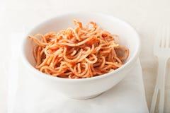 Spagetti con salsa al pomodoro Fotografie Stock