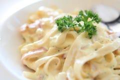 spagetti för baconcarbonaraost Royaltyfria Foton