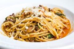 spagetti för meatnudelsås Arkivbild