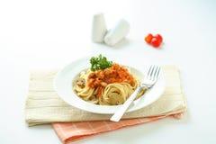 spagetti för meatnudelsås Arkivbilder