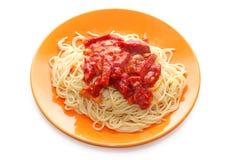 spagetti för platta för ketchupmeat orange royaltyfri foto