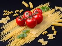 Spagetti, gräsplaner och tomater på en filial på en svart bakgrund arkivfoton