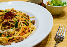 Spagetti with kimchi mixed minced meat beef. Stock Photography