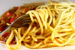 Spagetti meat sauce Stock Photos