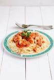 Spagetti med köttbullar och tomatsås Royaltyfria Foton