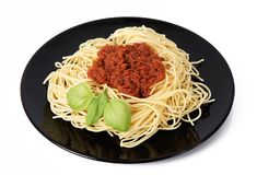 Spagetti med meatsås Fotografering för Bildbyråer