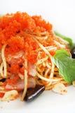 Spagetti med räkaägg Royaltyfri Bild