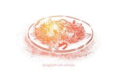 Spagetti med räkor, kokta nudlar med skaldjur, läcker gourmet- matställe, nationell kokkonst, pasta med räkor stock illustrationer