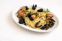 Spagetti med skaldjur Fotografering för Bildbyråer