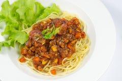 Spagetti med tomatsås Arkivfoto