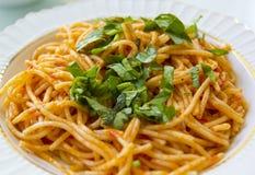 Spagetti med tomatsås Fotografering för Bildbyråer