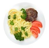 Spagetti och köttbullar Arkivfoto